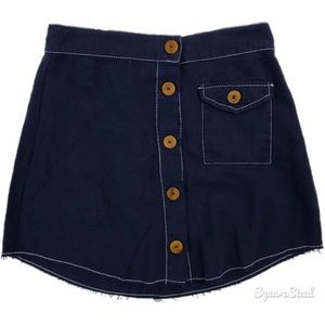 Zara Blue Denim Button Mini Skirt